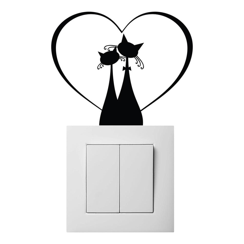 Čierna samolepka na vypínač Ambiance Cat Couple