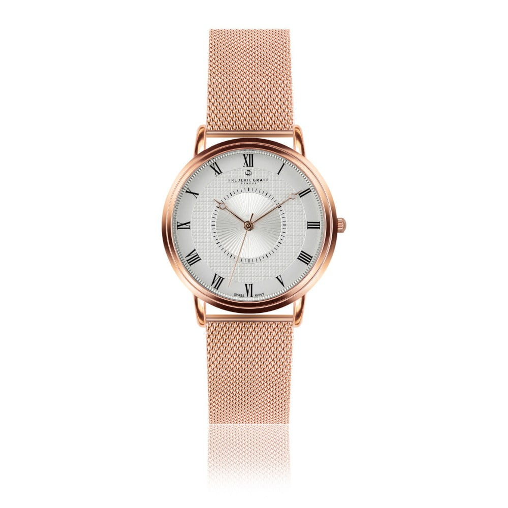 Unisex hodinky s antikoro remienkom v ružovo-zlatej farbe Frederic Graff  Rose Grand Combine Rose 6e2973810dc