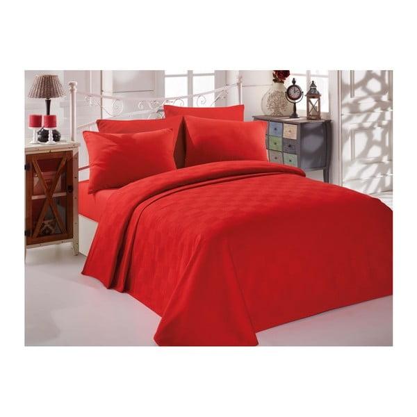 Červený bavlnený pléd cez posteľ na dvojlôžko Single Pique Rojo, 200×234 cm