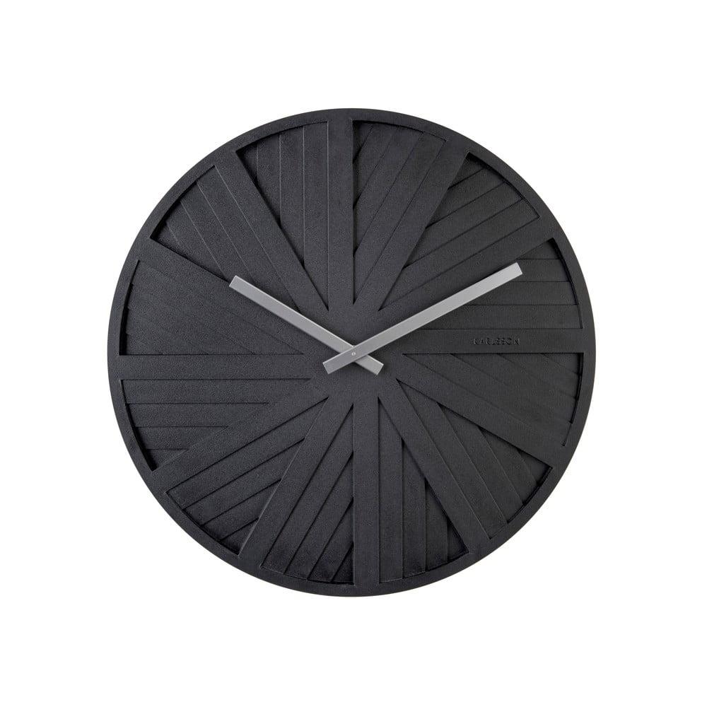 Čierne nástenné hodiny Karlsson Slides, ø 40 cm