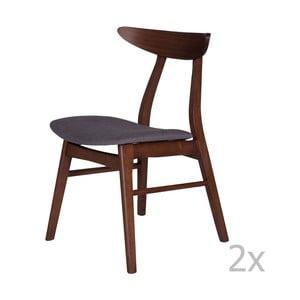 Sada 2 jedálenských stoličiek z kaučukovníkového dreva s tmavosivým podsedákom sømcasa Salma