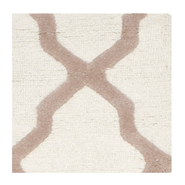 Vlnený koberec Ava White Beige, 91x152 cm