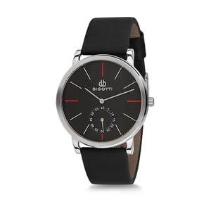 Pánske hodinky s čiernym koženým remienkom Bigotti Milano Thomas