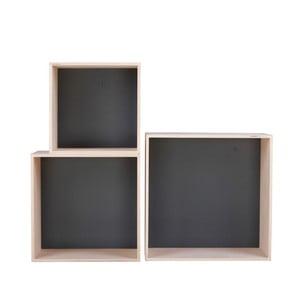 Sada 3 čiernych poličiek Nørdifra Cubes