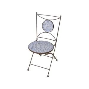 Modro-biela stolička s keramickým sedadlom Ego Dekor