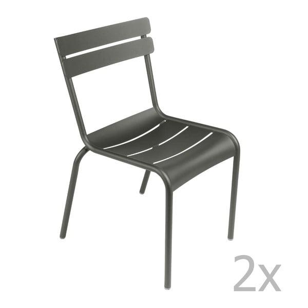 Sada 2 sivých stoličiek Fermob Luxembourg