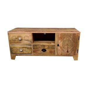 TV stolík z masívneho mangového dreva s 3 zásuvkami Massive Home Ella