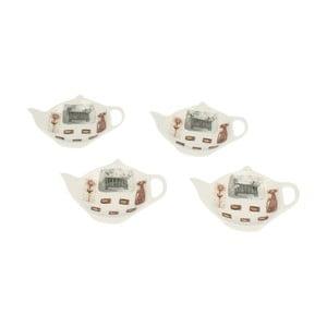 Sada 4 porcelánových podnosok na čajové vrecúška Duo Gift Kotty