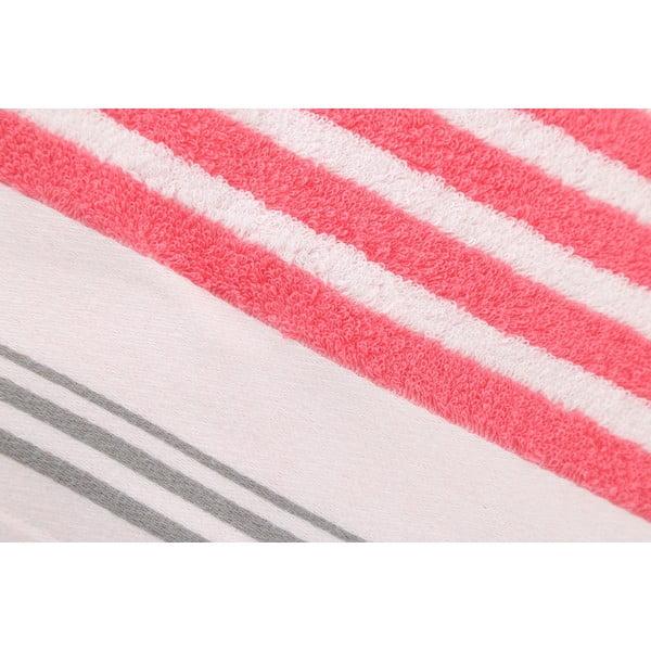 Ružovo-biela bavlnená osuška BHPC Velvet, 80x150cm