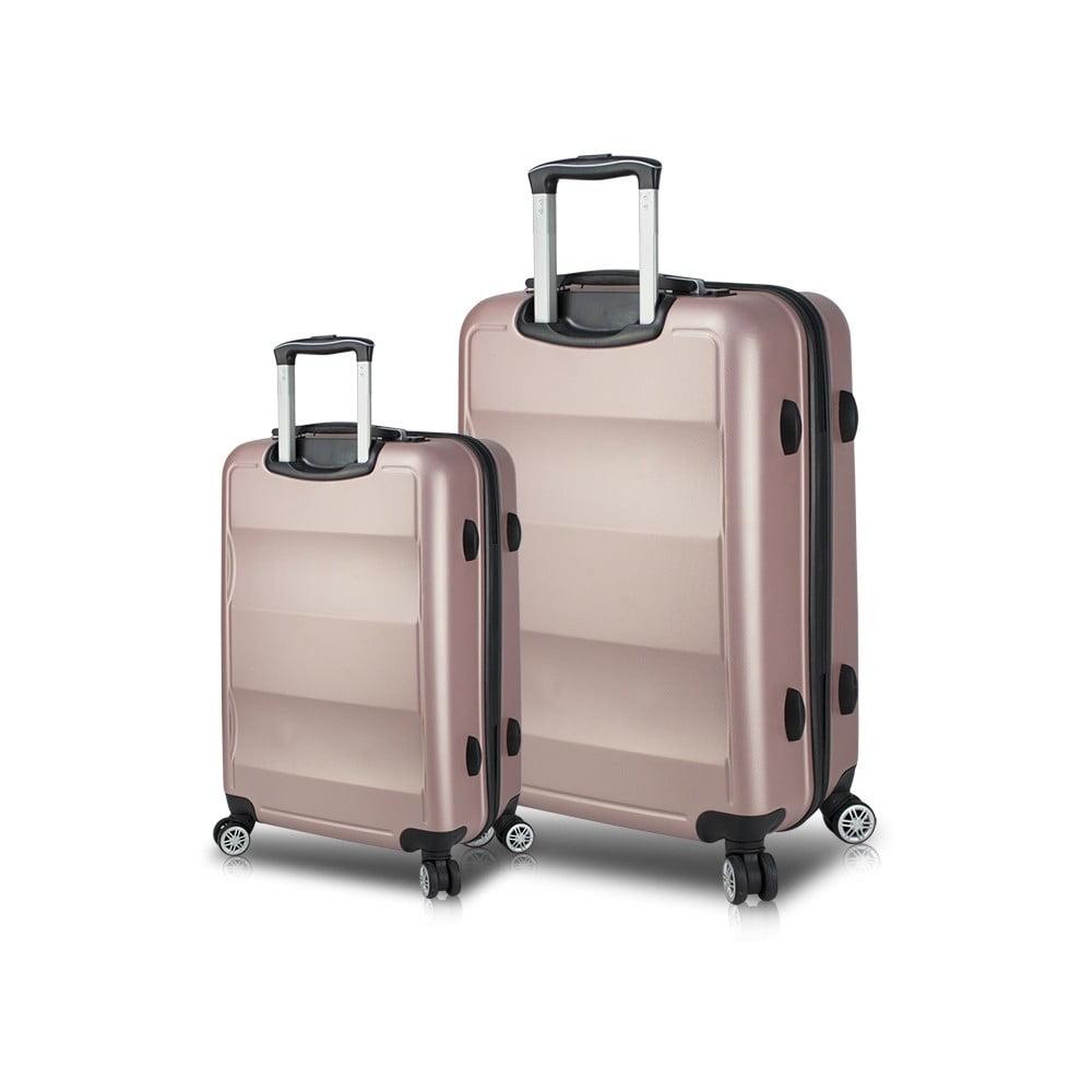 Sada 2 ružových cestovných kufrov na kolieskach s USB porty My Valice LASSO Cabin & Large