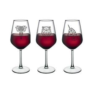 Sada 4 pohárov na víno Vivas Polygonal Animal Figure, 345 cm