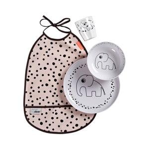 Ružový detský jedálenský set s podbradníkom Done by Deer Happy Dots