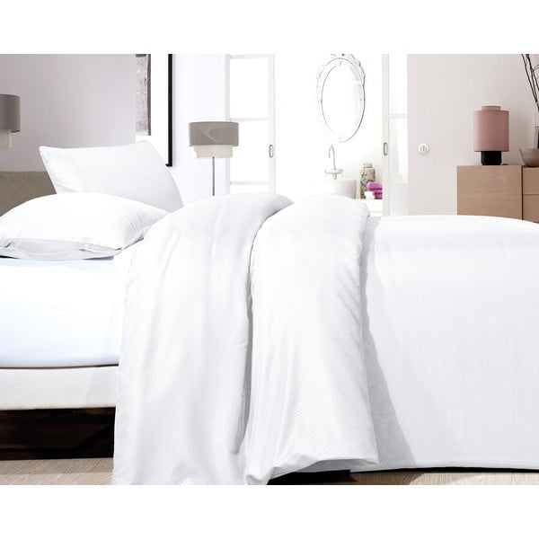 Biele obliečky z mikroperkálu na dvojlôžko Zensation Satin Point, 200×200 cm