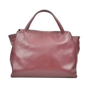 Vínovočervená kožená kabelka Carla Ferreri Celha Mento