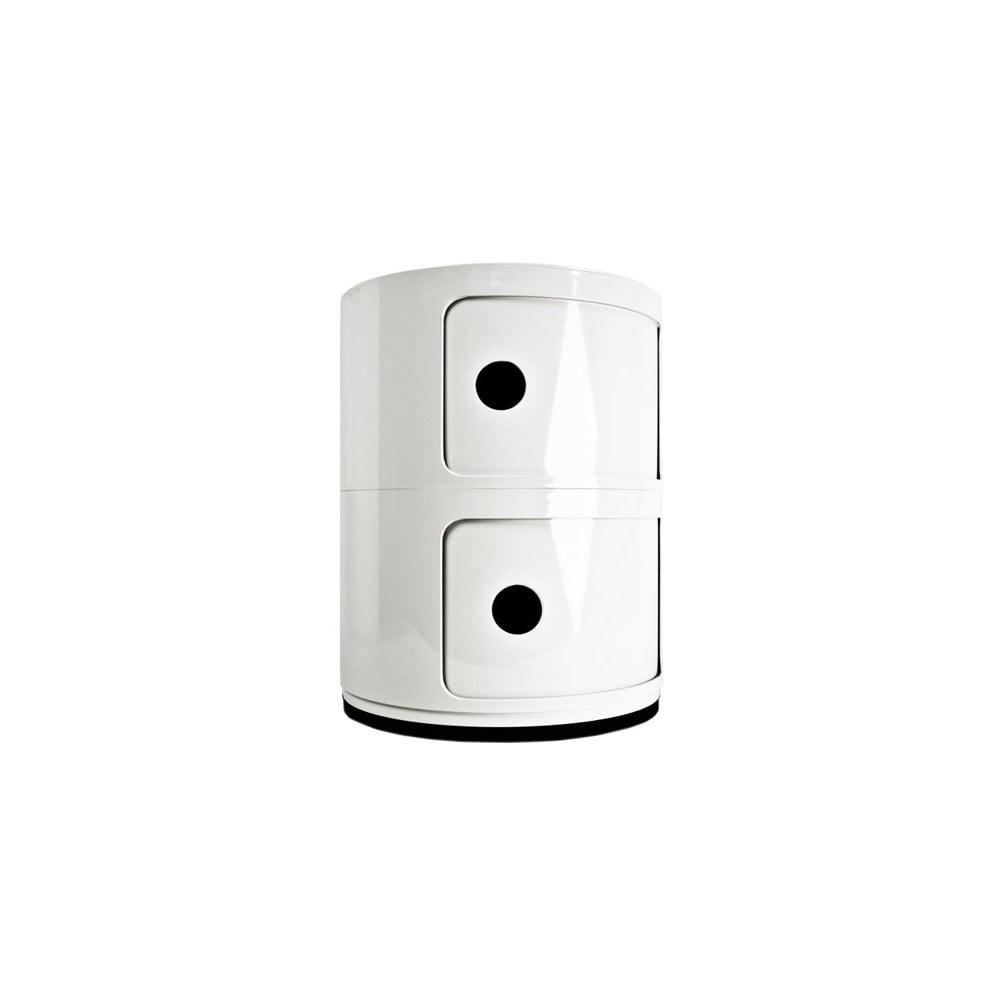 Biely kontajner s 2 zásuvkami Kartell Componibili