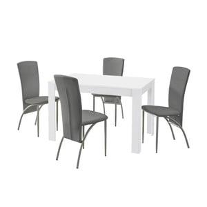 Set jedálenského stola a 4 sivých jedálenských stoličiek Støraa Lori Nevada White Light Grey
