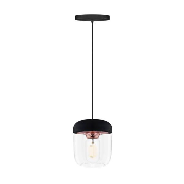 Čierne závesné tienidlo s objímkou medenej farby VITA Copenhagen Acorn, Ø14 cm
