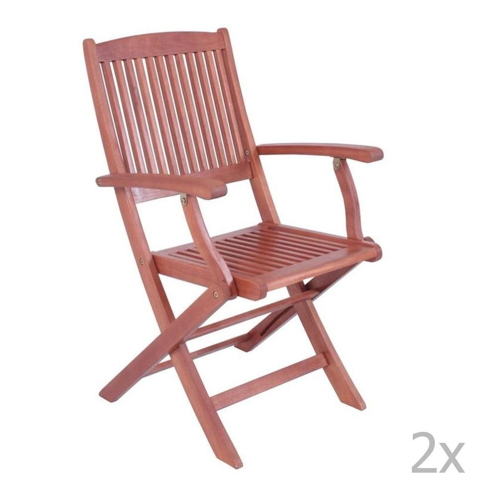 Súprava 2 záhradných skladacích stoličiek z eukalyptového dreva s opierkami na ruky ADDU Stockholm