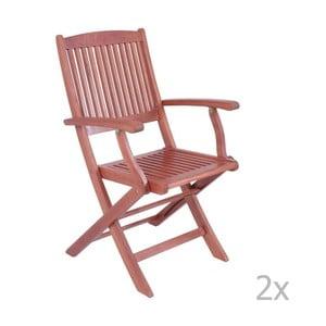 Sada 2 záhradných skladacích stoličiek z eukalyptového dreva s opierkami na ruky ADDU Stockholm