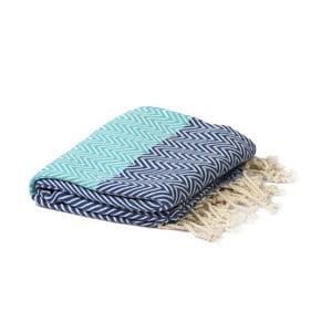 Tyrkysovo-modrý hammam uterák Spa Time Zig, 95x180cm