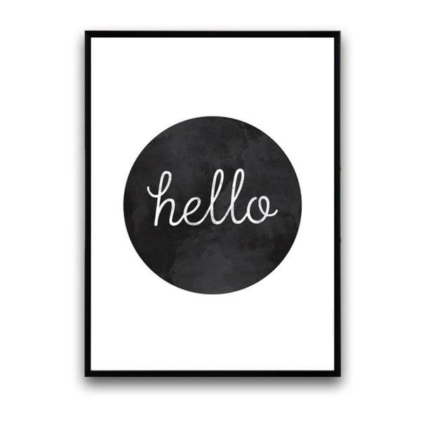 Plagát v drevenom ráme Hello Black, 38x28 cm