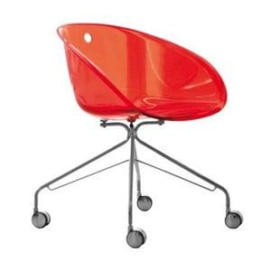 Červená stolička na kolieskach Pedrali Gliss