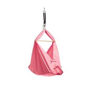 Malá ružová kolíska z bavlny so zavesením do dverí Hojdavak Baby (0 až 9 mesiacov)