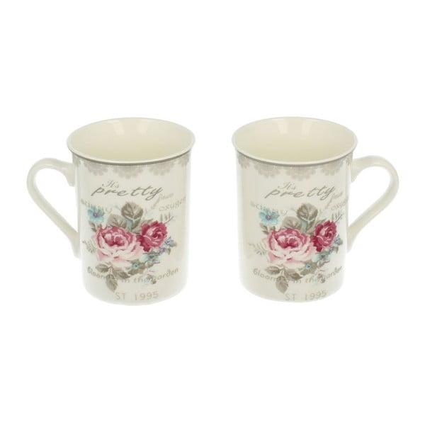 Sada 2 porcelánových hrnčekov Roses, 0,3 l