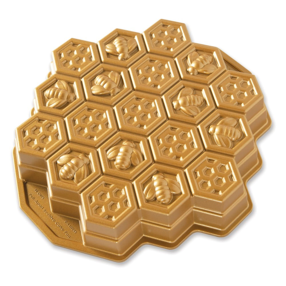 Forma na pečenie v tvare medového plátu v zlatej farbe Nordic Ware Bee, 2,4 l