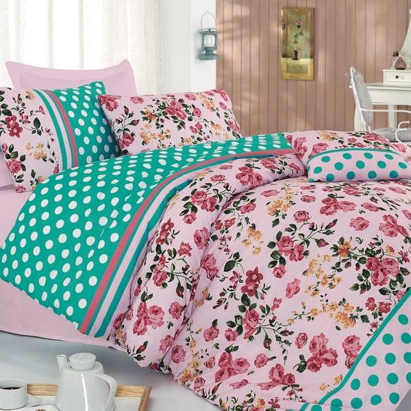 Obliečky Jardin de Rose Pink s plachtou, 200x220 cm