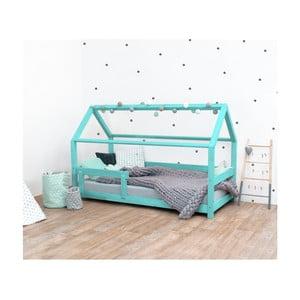 Tyrkysová detská posteľ s bočnicami zo smrekového dreva Benlemi Tery, 90×190 cm