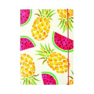Linajkovaný zápisník B5 Portico Designs Pineapple And Watermelon, 80 stránok