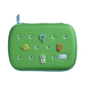 Zelený peračník so 4 ozdobnými odznačikmi TINC Buds