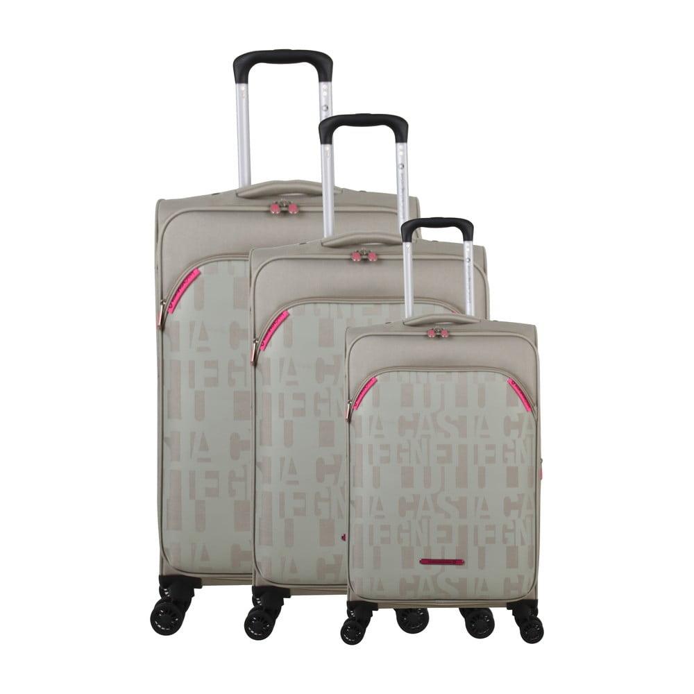 Sada 3 béžových kufrov na 4 kolieskach Lulucastagnette Bellatrice