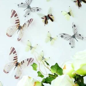 Trojrozmerné samolepky - motýlikovia, farba biela