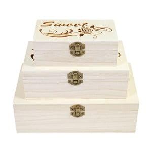 Sada 3 drevených boxov Mendler Shabby Sweet