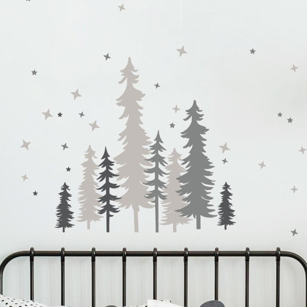 Nástenné detské samolepky Ambiance Forest Trees With Stars