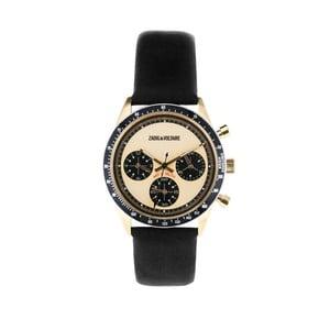 Dámske hodinky s čiernym koženým remienkom Zadig & Voltaire