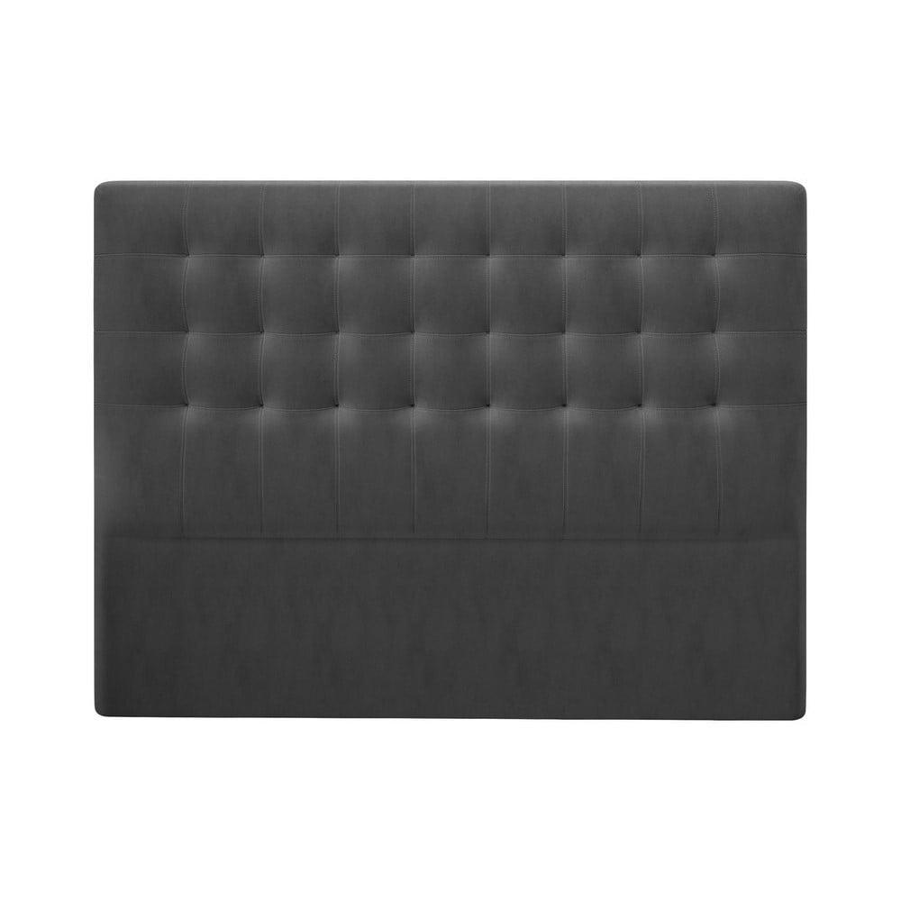 Tmavosivé čelo postele so zamatovým poťahom Windsor & Co Sofas Athena, 140 × 120 cm