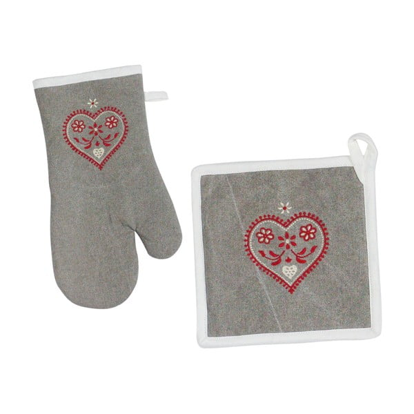 Kuchynská rukavica a chňapka Grey Heart