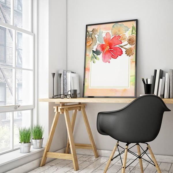 Plagát s kvetom, bielo-ružové pozadie, 30 x 40 cm