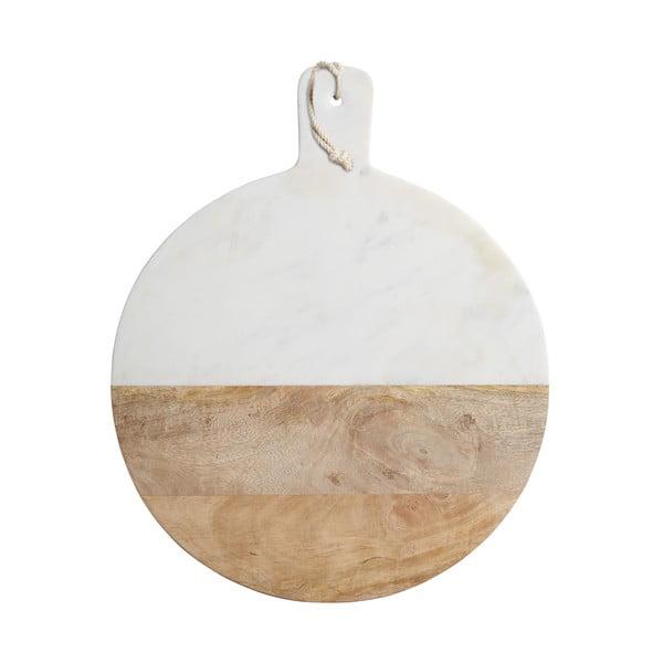 Doska z bieleho mramoru a mangového dreva Master Class, 50 cm