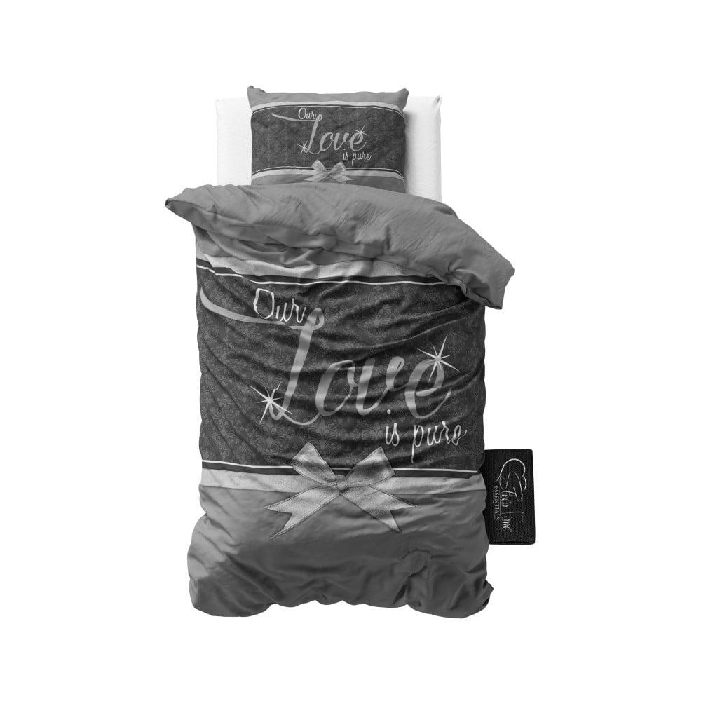 Sivé bavlnené obliečky Dreamhouse Pure Love, 140 × 220 cm