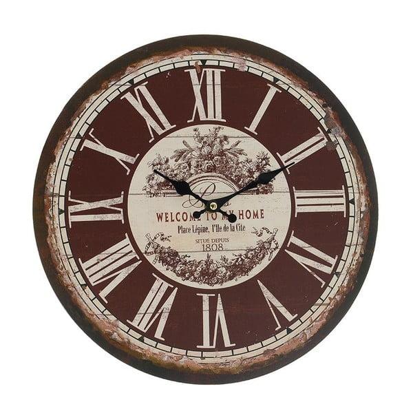 Nástenné hodiny Brown Vintage, 34 cm