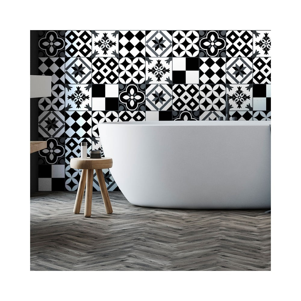 Sada 60 nástenných samolepiek Ambiance Wall Decal Cement Tiles Pinocito, 10 × 10 cm