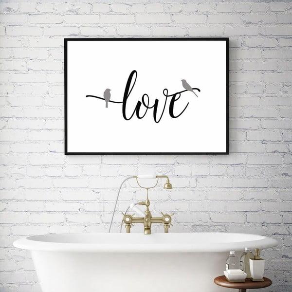 Plagát v drevenom ráme Simply love, 38x28 cm