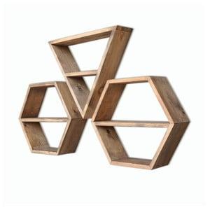 Sada 3 drevených nástenných políc Hexa