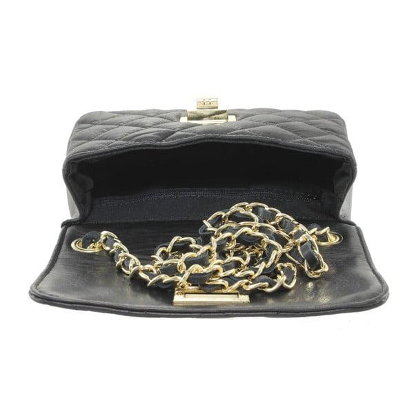 Čierna kožená listová kabelka Chicca Borse Cee Cee