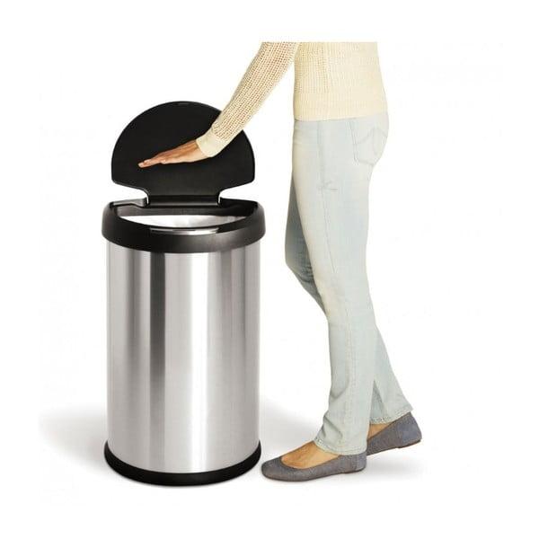 Strieborný bezdotykový odpadkový kôš simplehuman, 45 l
