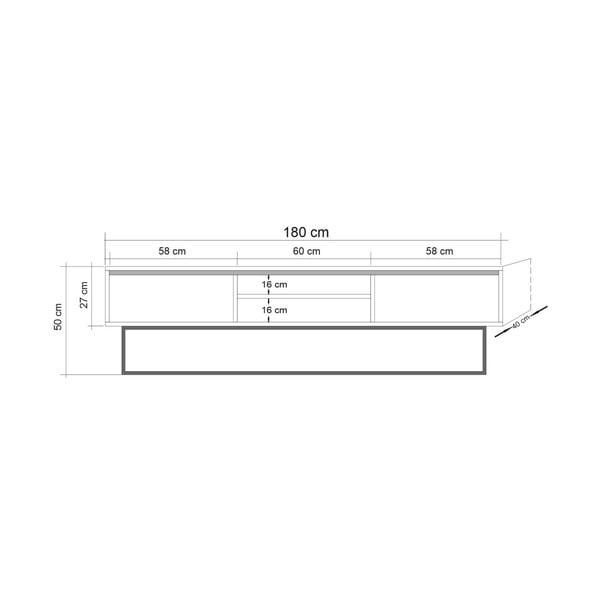 TV stolík so sivými dvierkami Industrio, dĺžka 180 cm